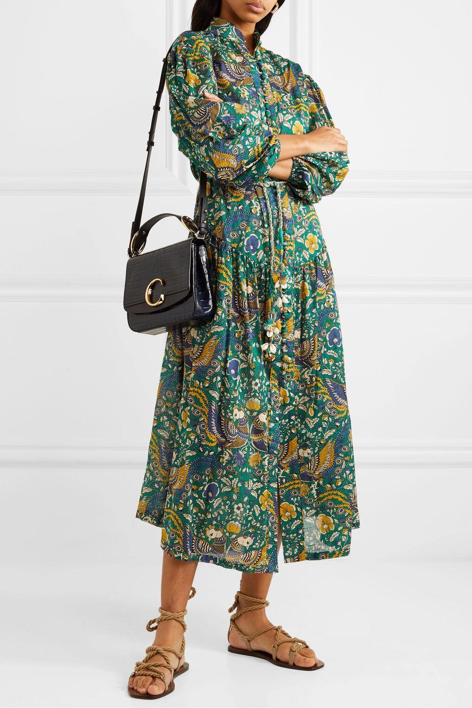 Zimmermann Edie belted printed cotton-voile midi dress