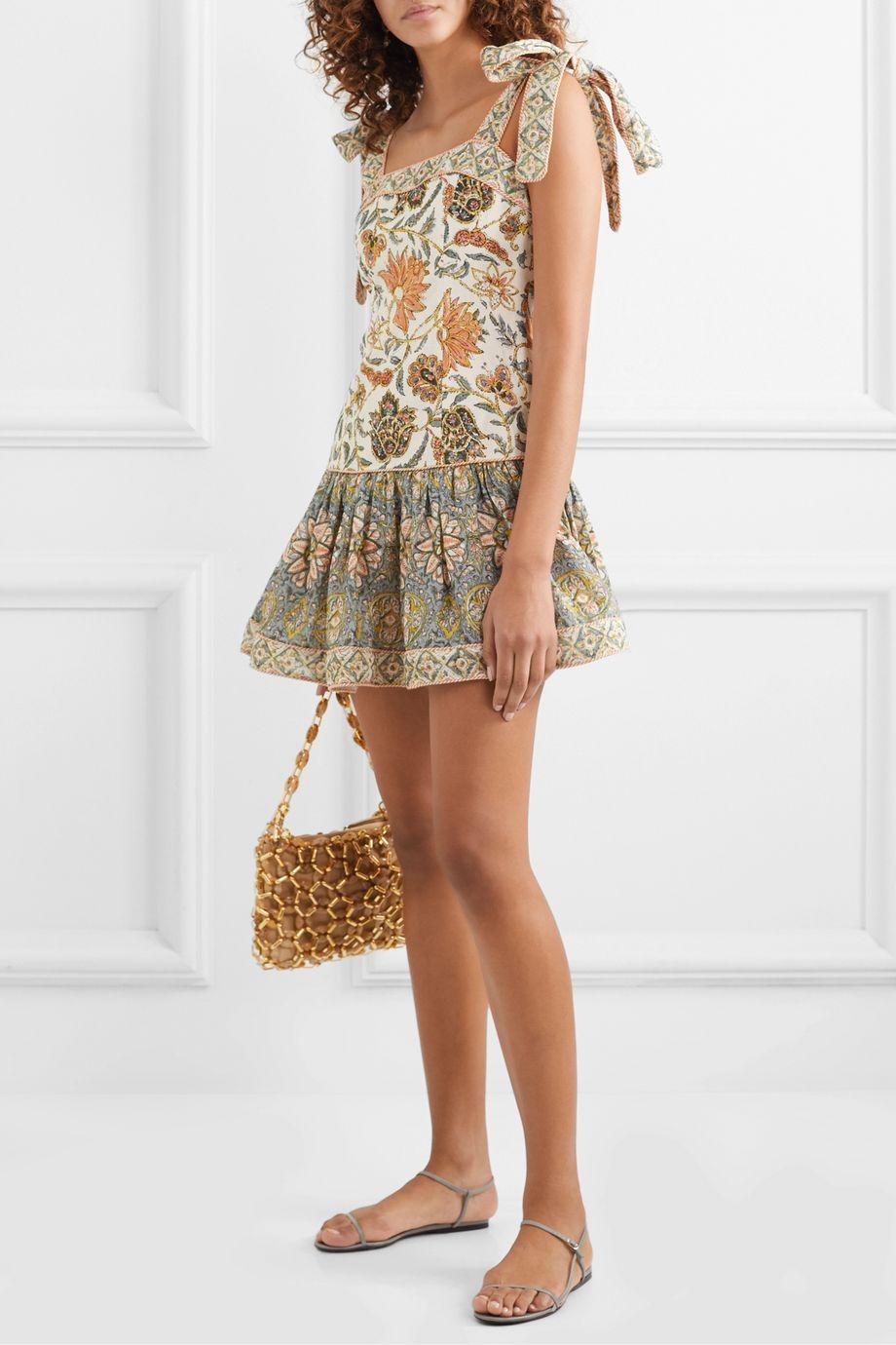 Zimmermann Edie ruffled printed linen mini dress