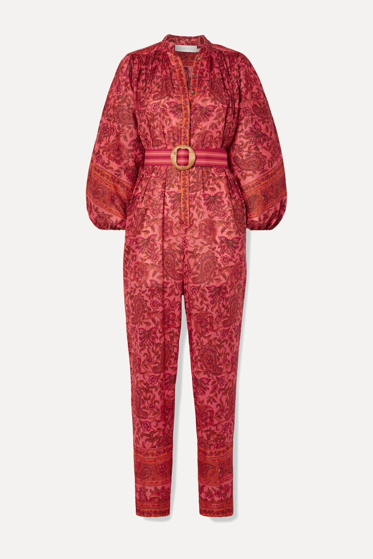 Zimmermann Edie Jumpsuit aus Baumwoll-Voile mit Paisley-Print und Gürtel