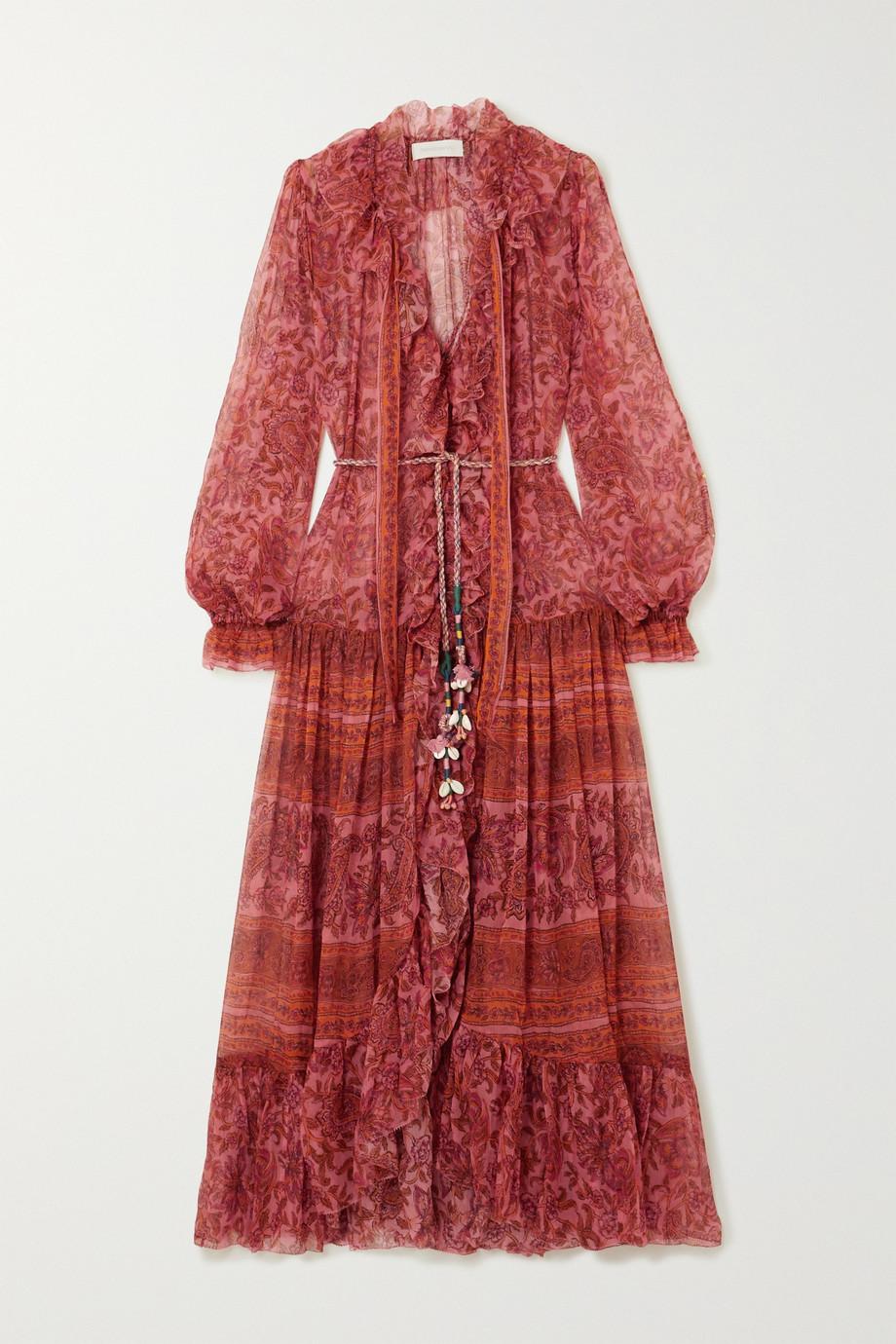 Zimmermann | Edie embellished printed silk-chiffon maxi dress | NET-A-PORTER.COM