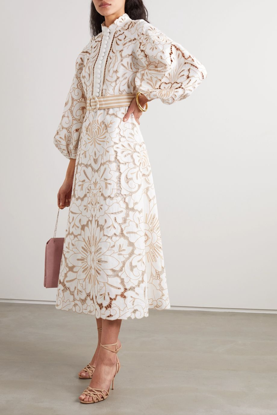Zimmermann Edie belted broderie anglaise linen and cotton-blend midi dress