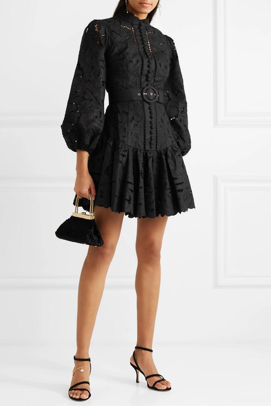 Zimmermann Mini-robe en broderie anglaise de lin et coton mélangés à ceinture Edie