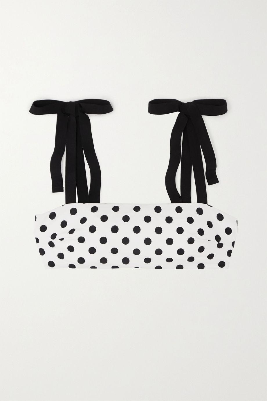 Zimmermann Tie-detailed polka-dot bikini top