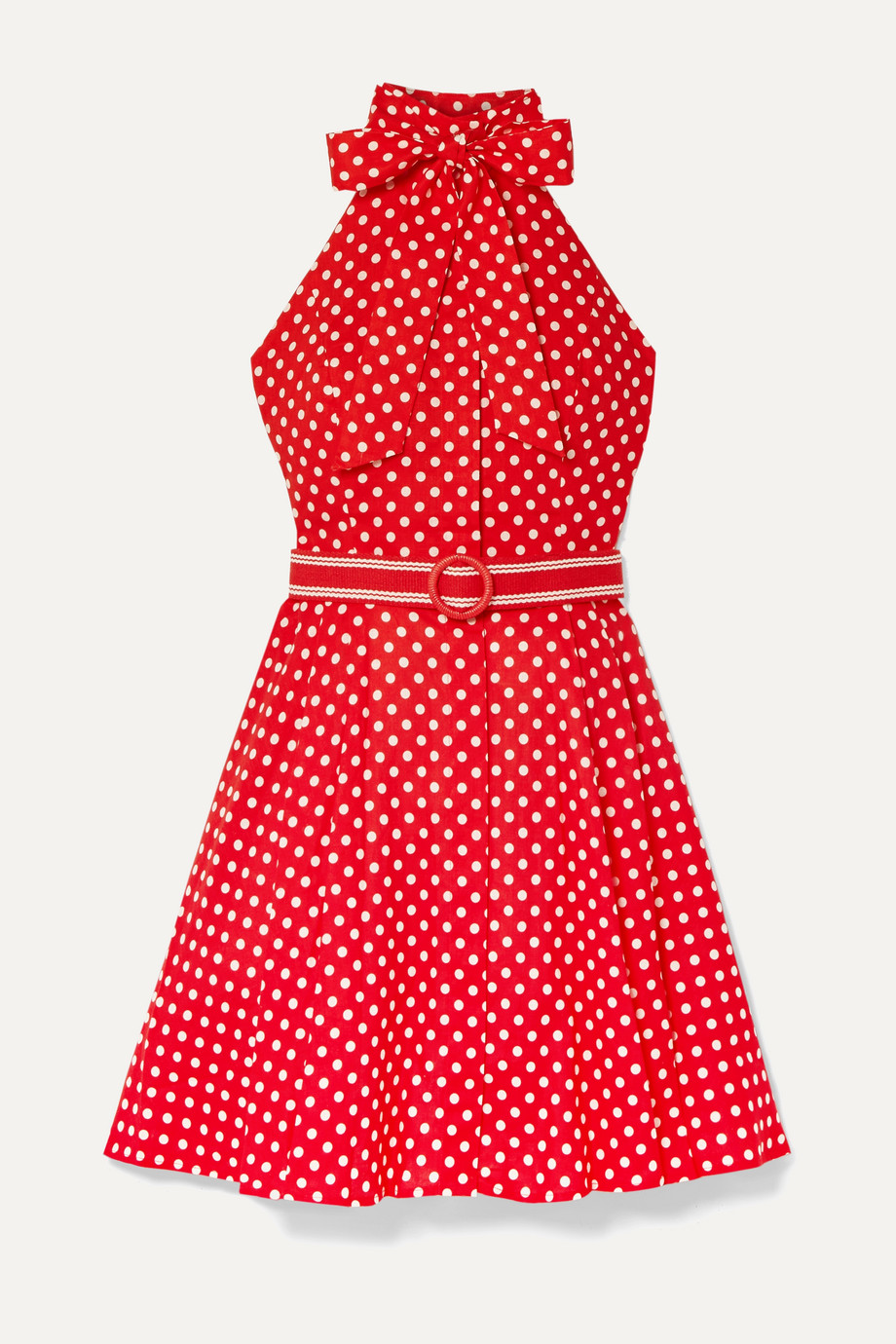 Zimmermann Mini-robe dos nu en voile de coton et lin mélangés à pois Zinnia
