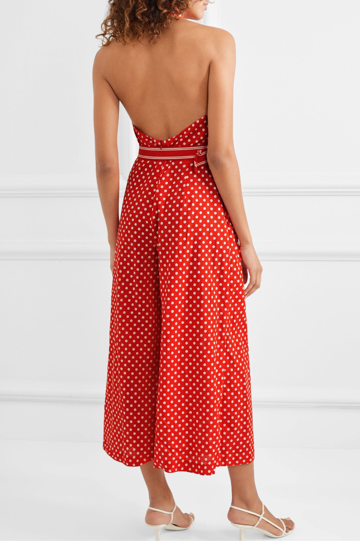 Zimmermann Zinnia halterneck polka-dot linen and cotton-blend voile jumpsuit