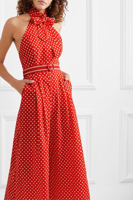 Zinnia halterneck polka-dot linen and cotton-blend voile jumpsuit