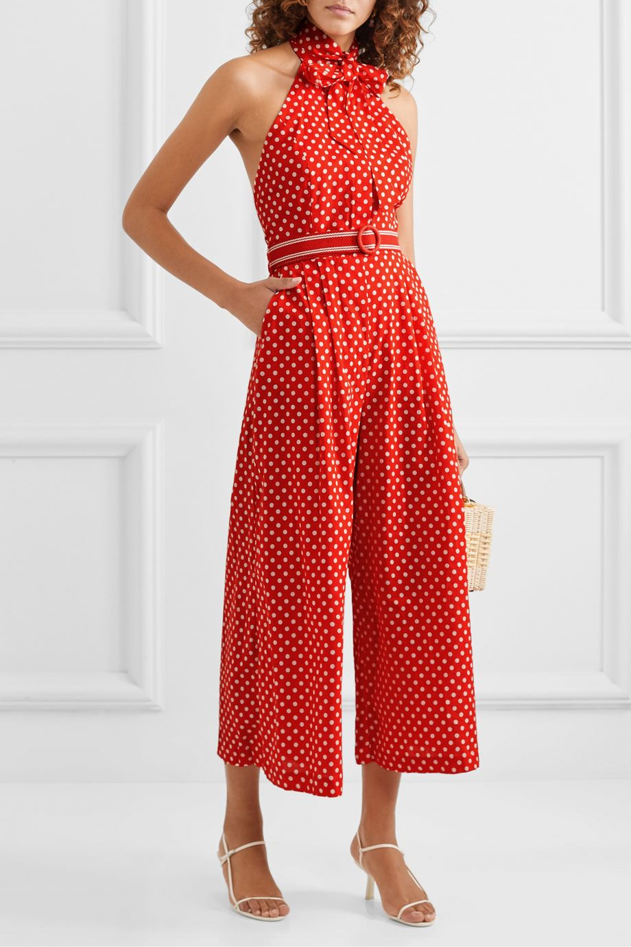 Zimmermann Zinnia halterneck polka-dot linen and cotton-blend voile jumpsuit