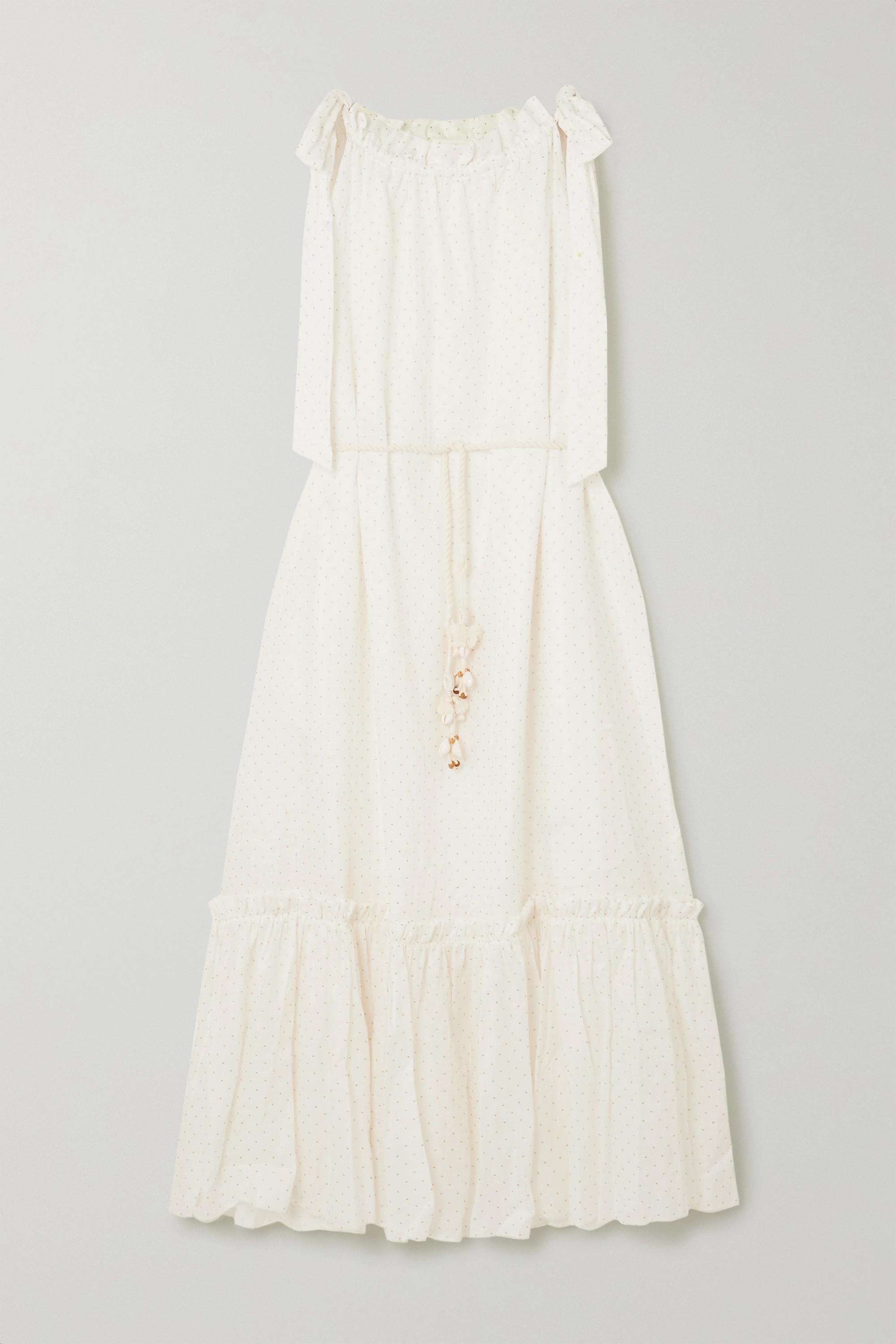 Zimmermann Zinnia belted tiered metallic polka-dot linen midi dress