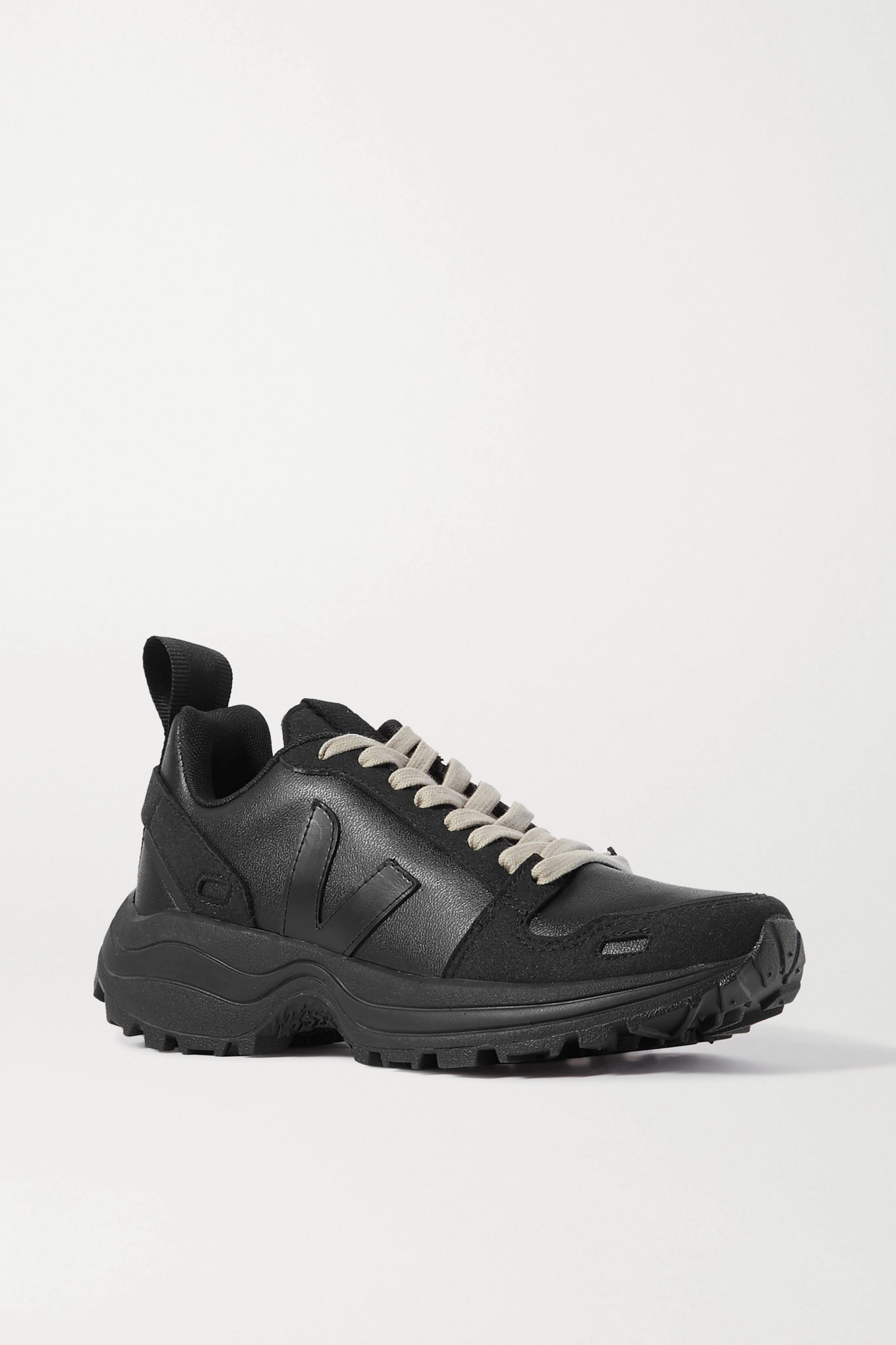 Perfecto agitación Fracción  Black + Veja vegan leather and suede sneakers | Rick Owens | NET-A-PORTER