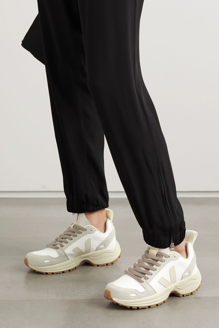 Rick Owens + Veja vegan leather and suede sneakers