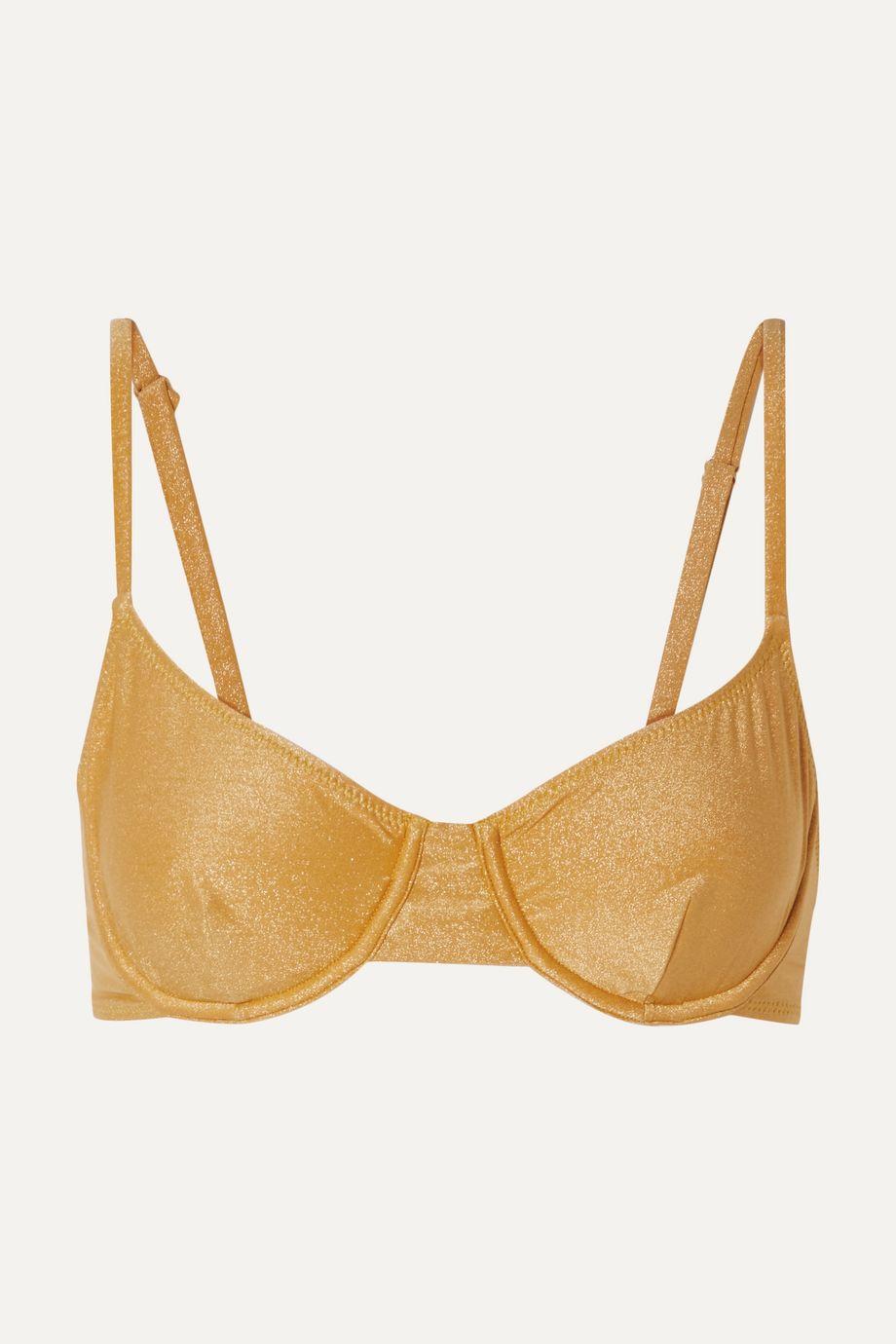 Solid & Striped The Eva metallic underwired bikini top