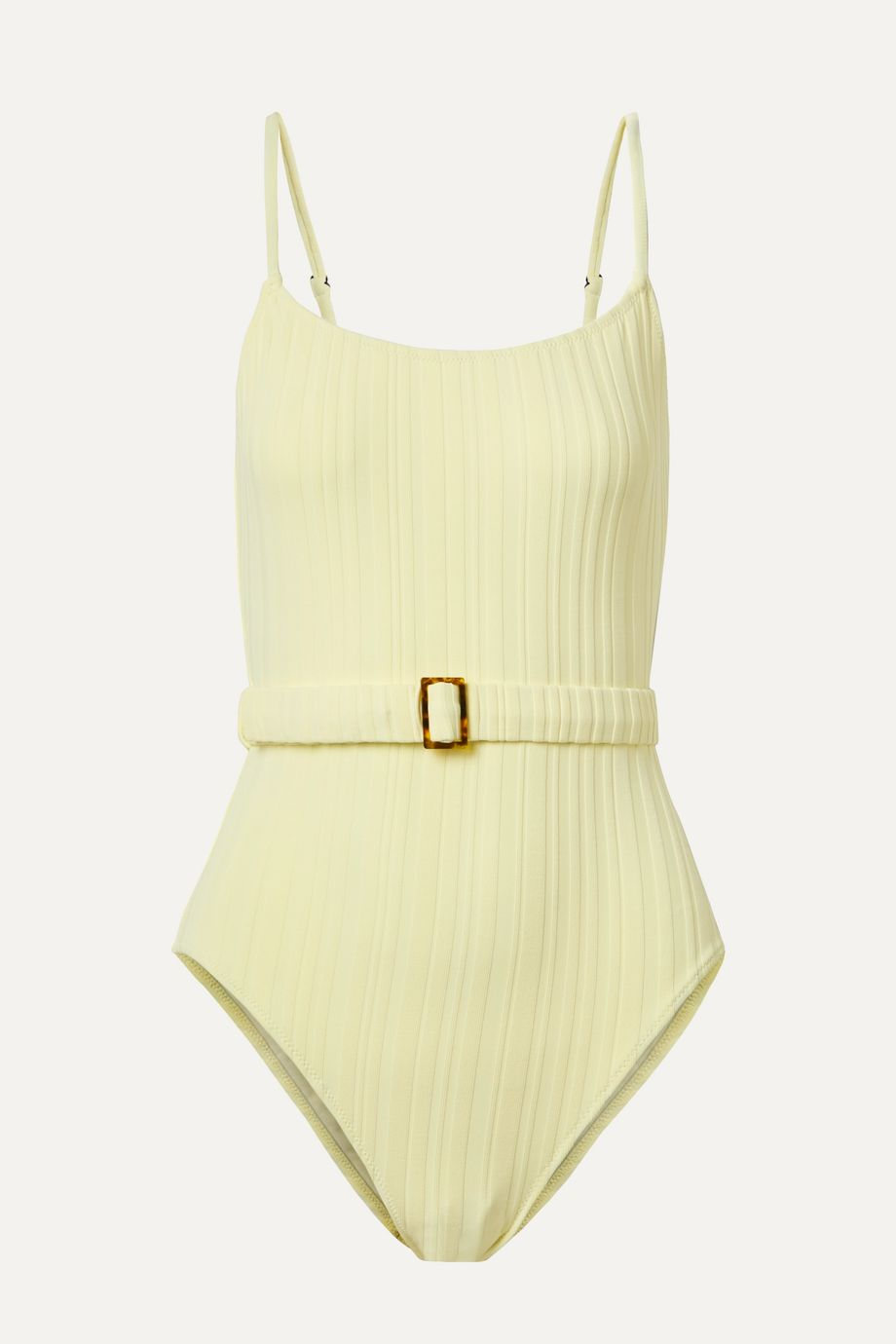 Solid & Striped The Nina belted ribbed swimsuit
