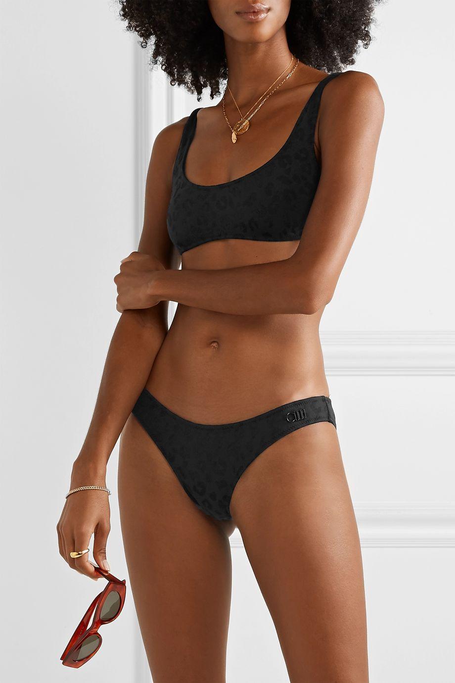 Solid & Striped The Elle stretch leopard-jacquard bikini briefs