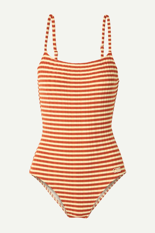 Solid & Striped The Nina gerippter Badeanzug mit Streifen