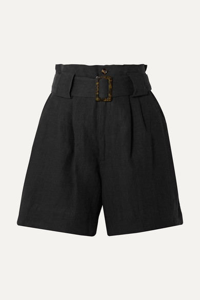 Belted Linen Blend Shorts by Solid & Striped