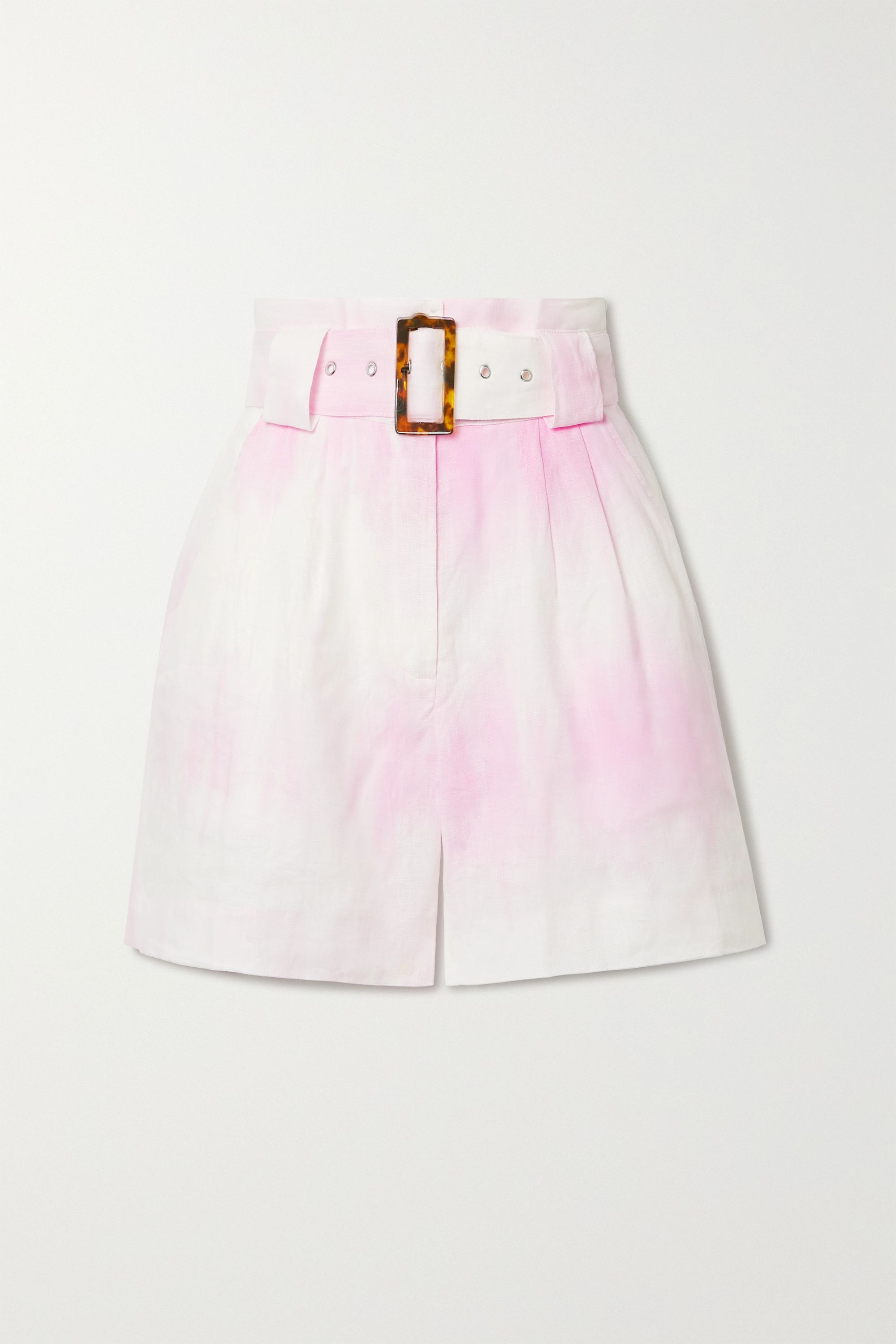 Solid & Striped Belted tie-dyed linen shorts