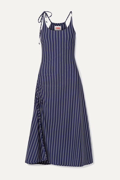 Solid & Striped Dresses BEAD-EMBELLISHED RUCHED STRIPED STRETCH-JERSEY MIDI DRESS