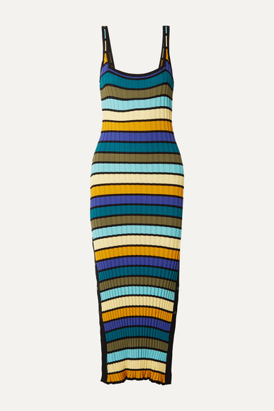 Solid & Striped Dresses STRIPED RIBBED-KNIT MIDI DRESS
