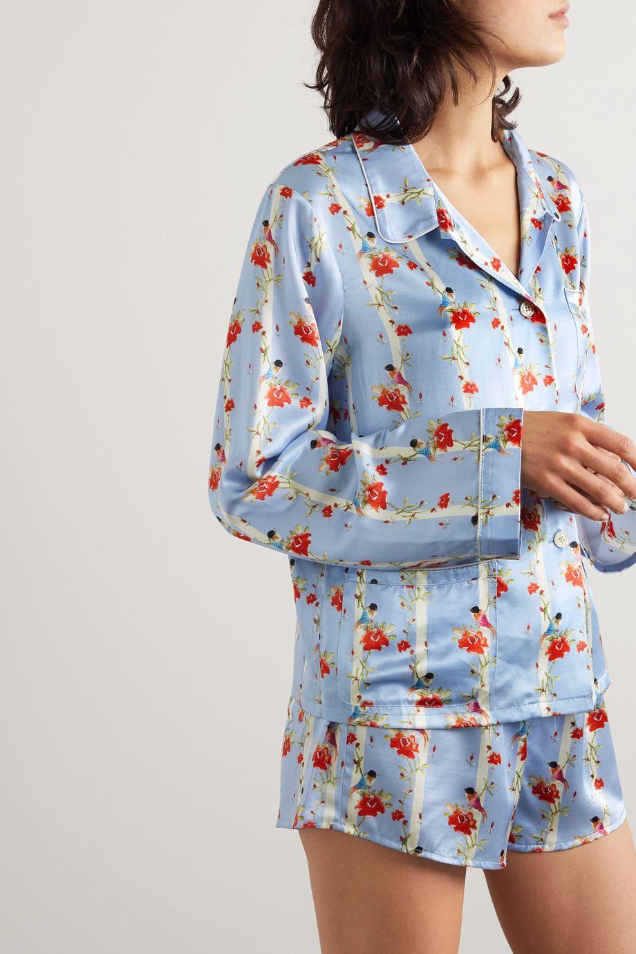 Morgan Lane Ruthie printed satin pajama shirt