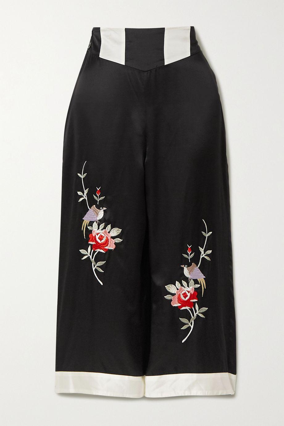 Morgan Lane Olive 刺绣缎布九分睡裤