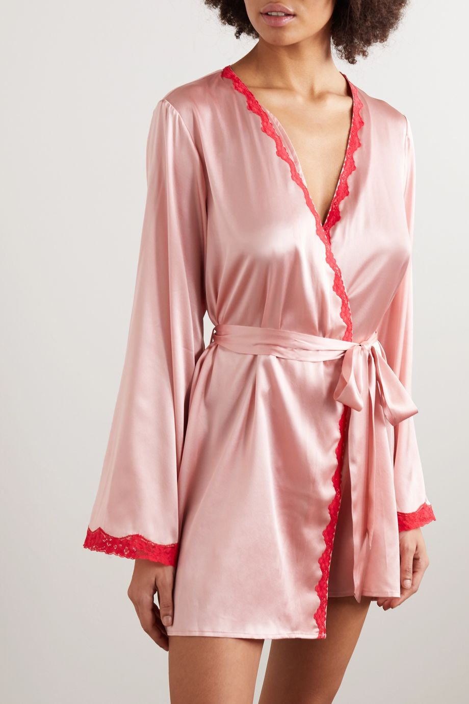 Morgan Lane Langley lace-trimmed silk-blend charmeuse robe