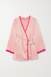 Langley lace-trimmed silk-blend charmeuse robe