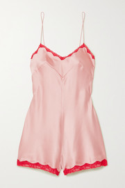 Genevieve lace-trimmed silk-blend charmeuse playsuit
