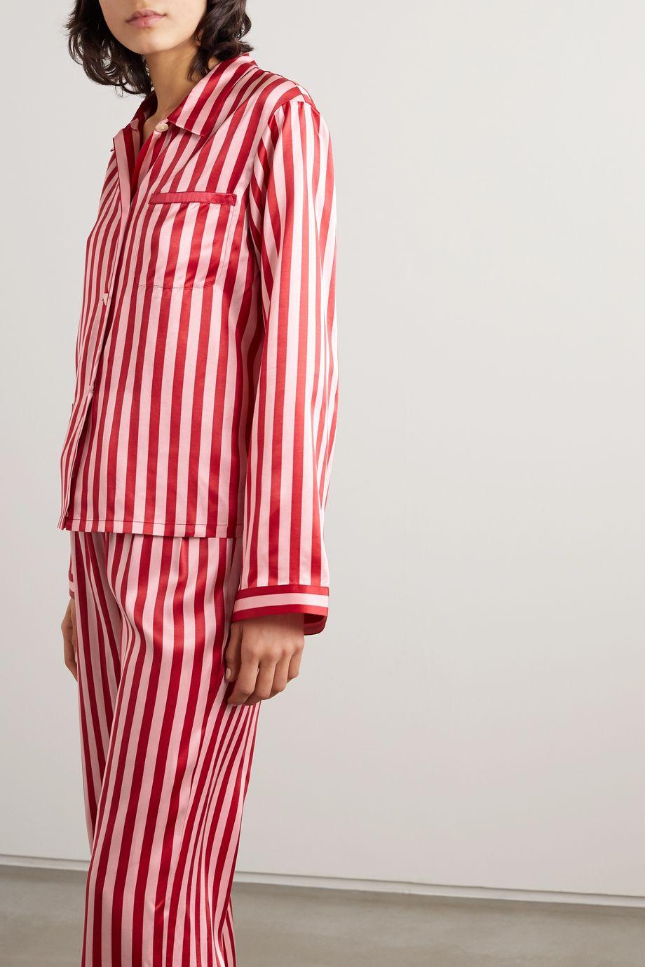 Morgan Lane Ruthie striped satin pajama shirt
