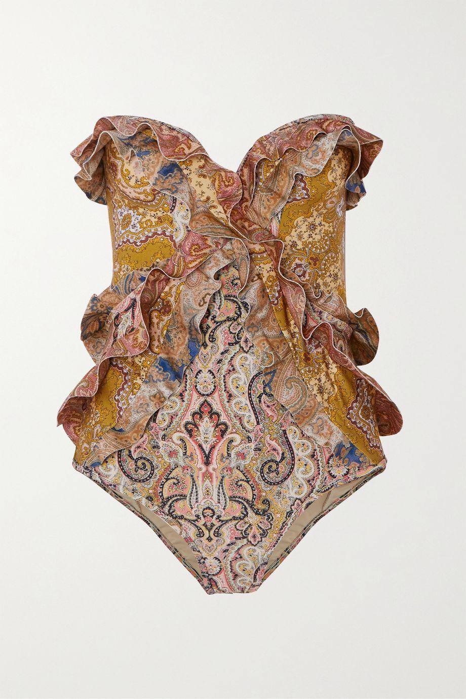 Zimmermann Freja ruffled paisley-print bandeau swimsuit