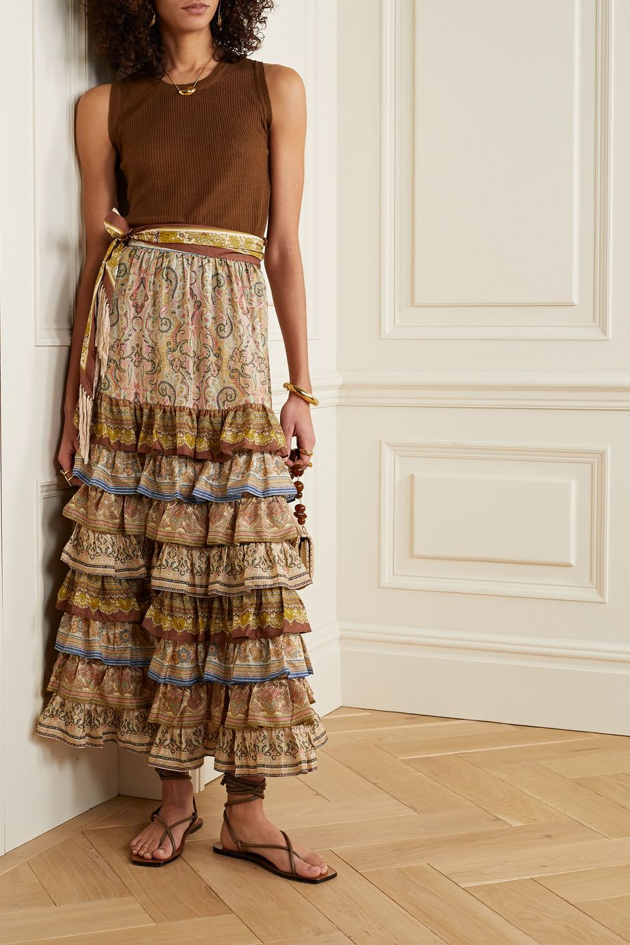Zimmermann Freja tiered ruffled paisley-print silk maxi skirt