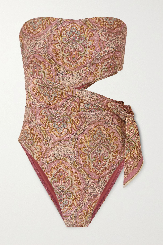 Zimmermann Freja Bandeau-Badeanzug mit Paisley-Print und Cut-out zum Binden