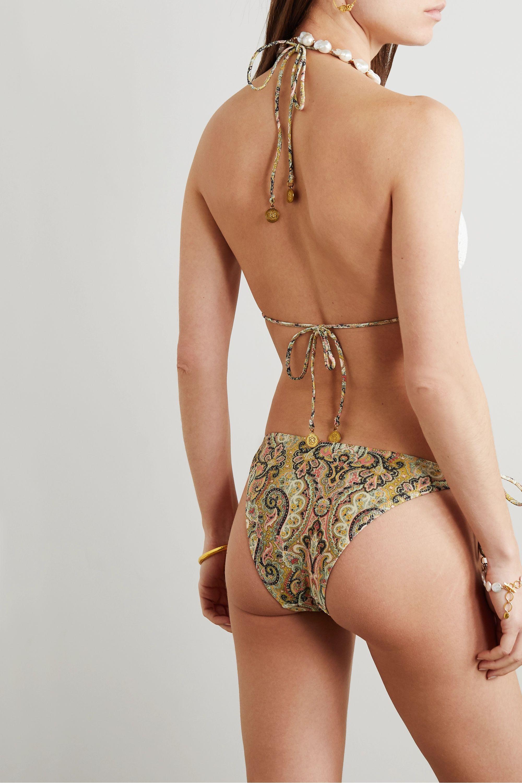 Zimmermann Freja embellished crocheted cotton and paisley-print triangle bikini