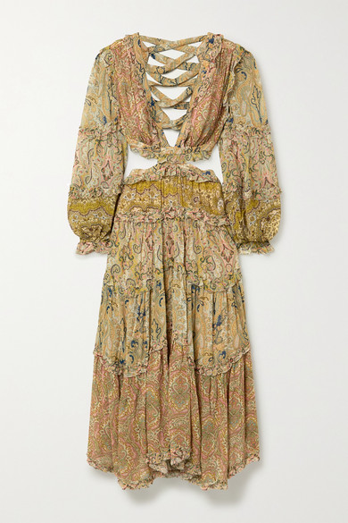 Freja Cutout Paisley Print Georgette Maxi Dress by Zimmermann