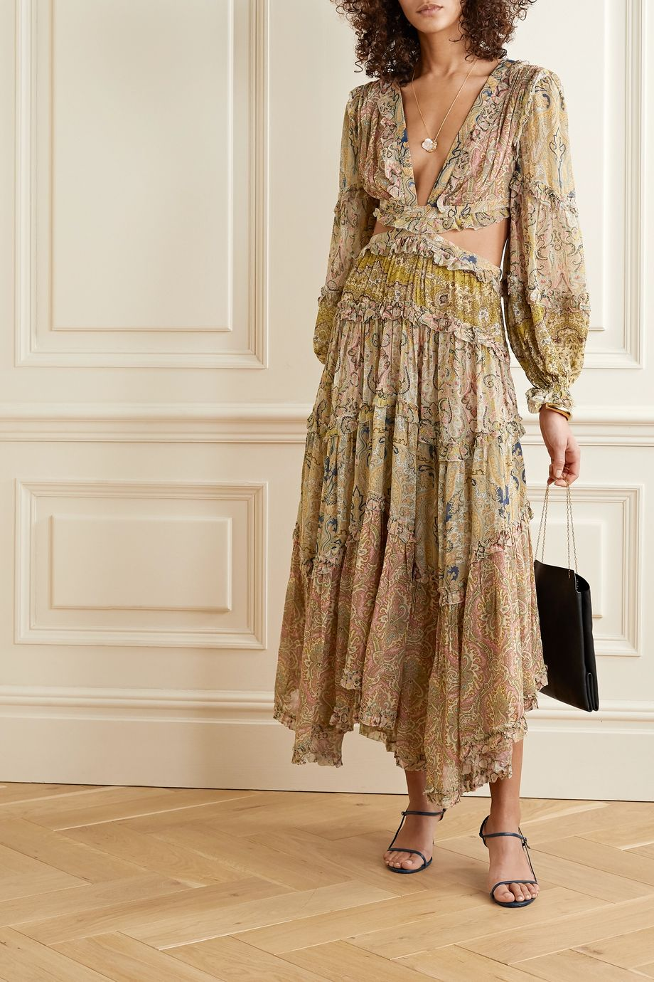 Zimmermann Freja cutout paisley-print georgette maxi dress