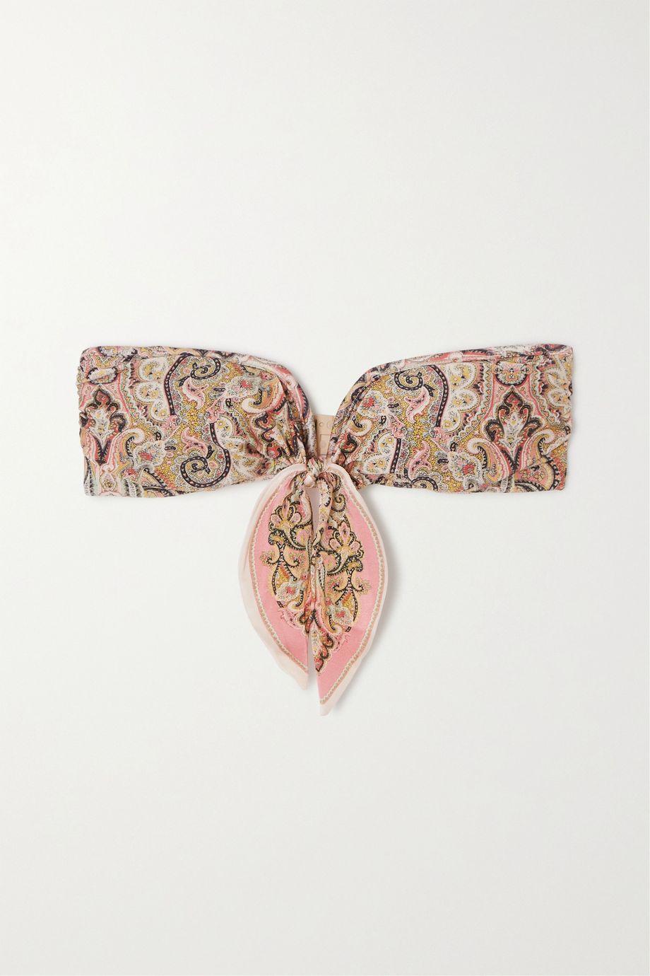 Zimmermann Haut de bikini bandeau à imprimé cachemire et à nœud Freja