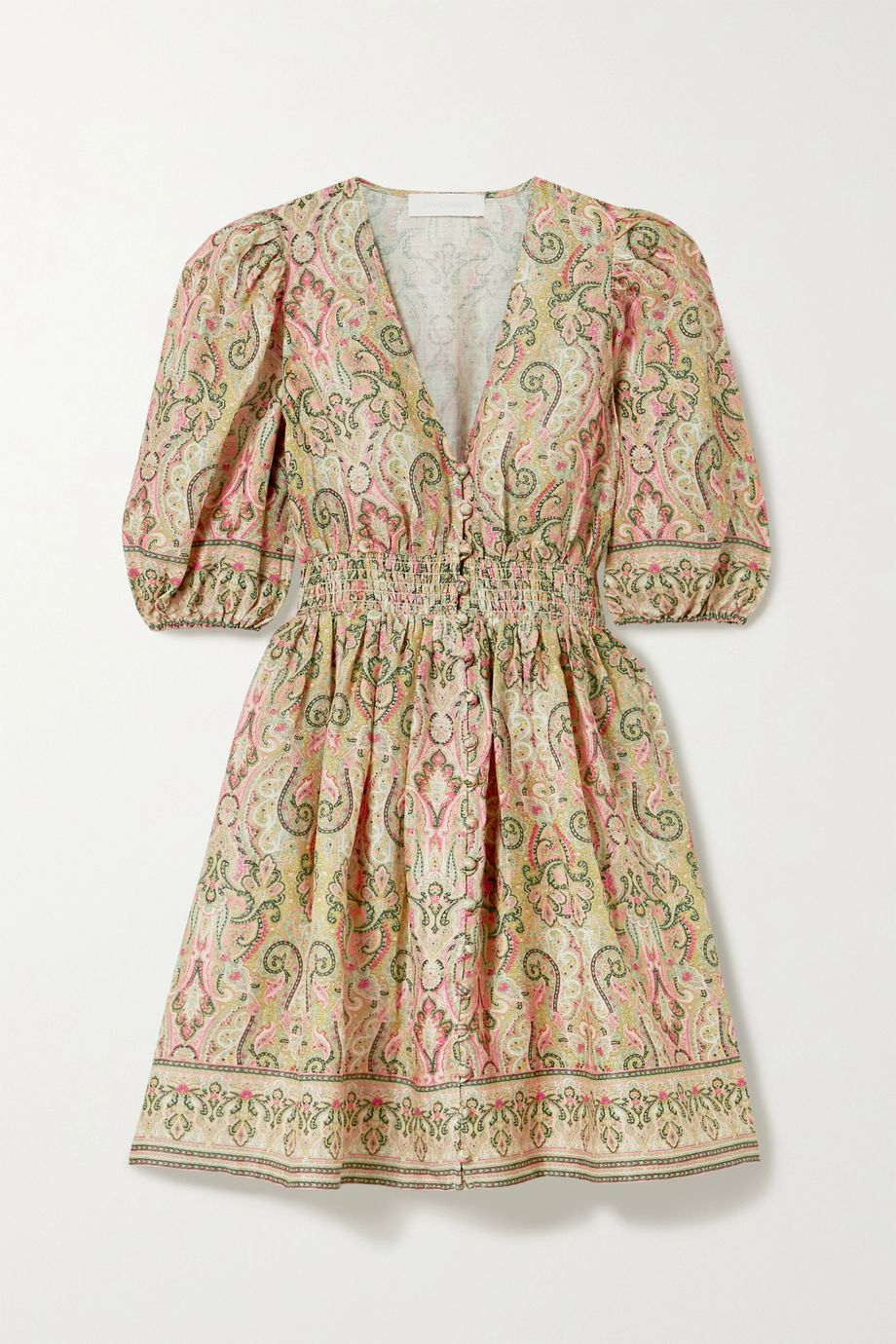 Zimmermann Mini-robe en lin à imprimé cachemire et à smocks Freja