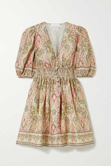 Freja Shirred Paisley Print Linen Mini Dress by Zimmermann