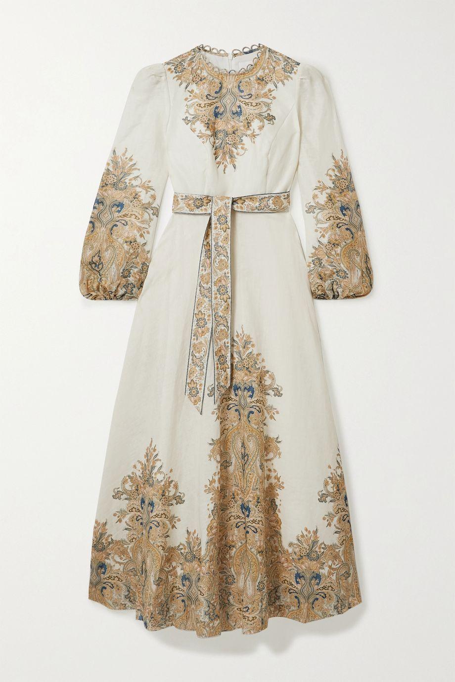 Zimmermann Robe longue en lin à motif cachemire Freja