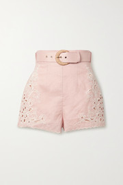 Freja broderie anglaise-trimmed linen shorts