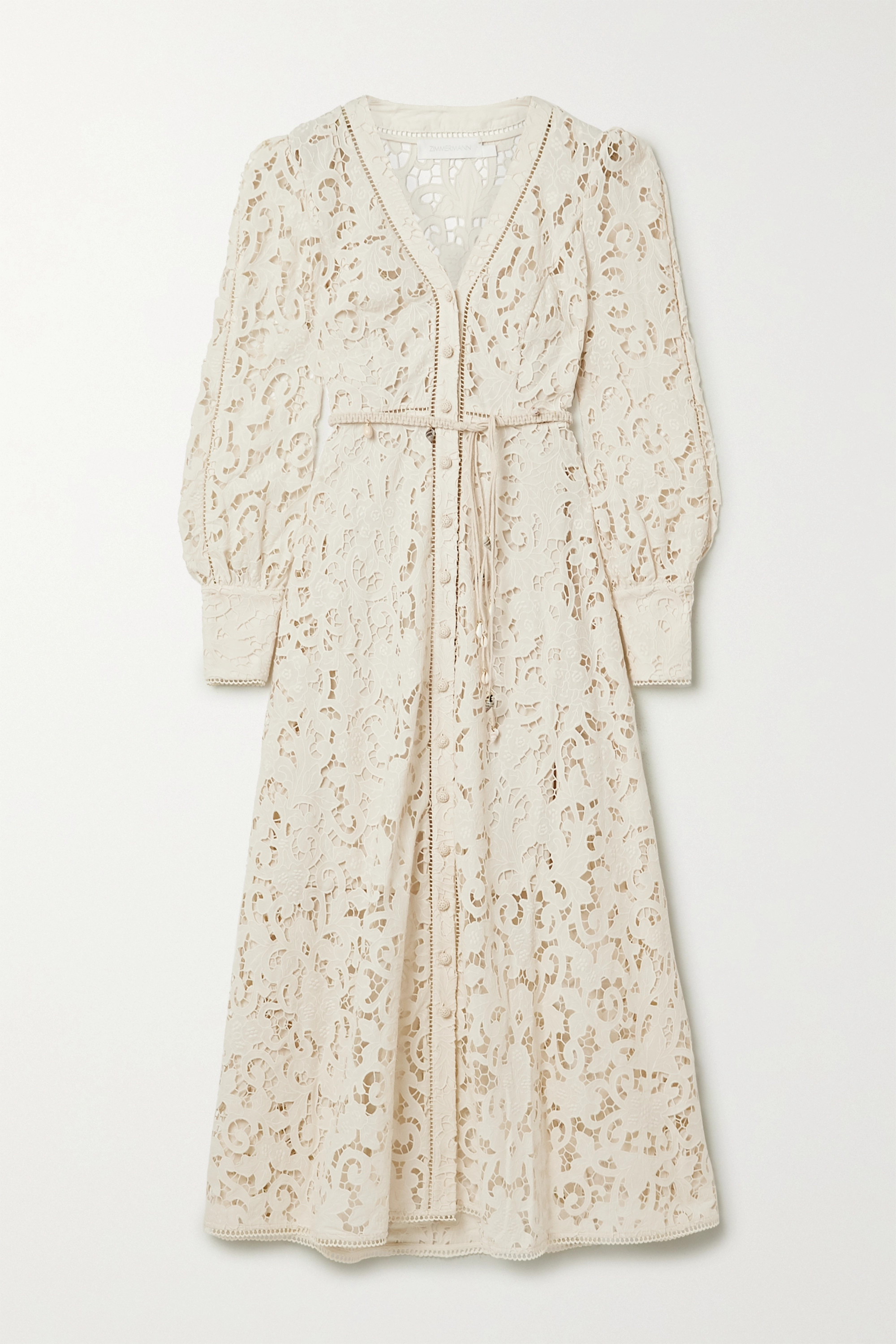 Zimmermann Freja belted broderie anglaise cotton maxi dress