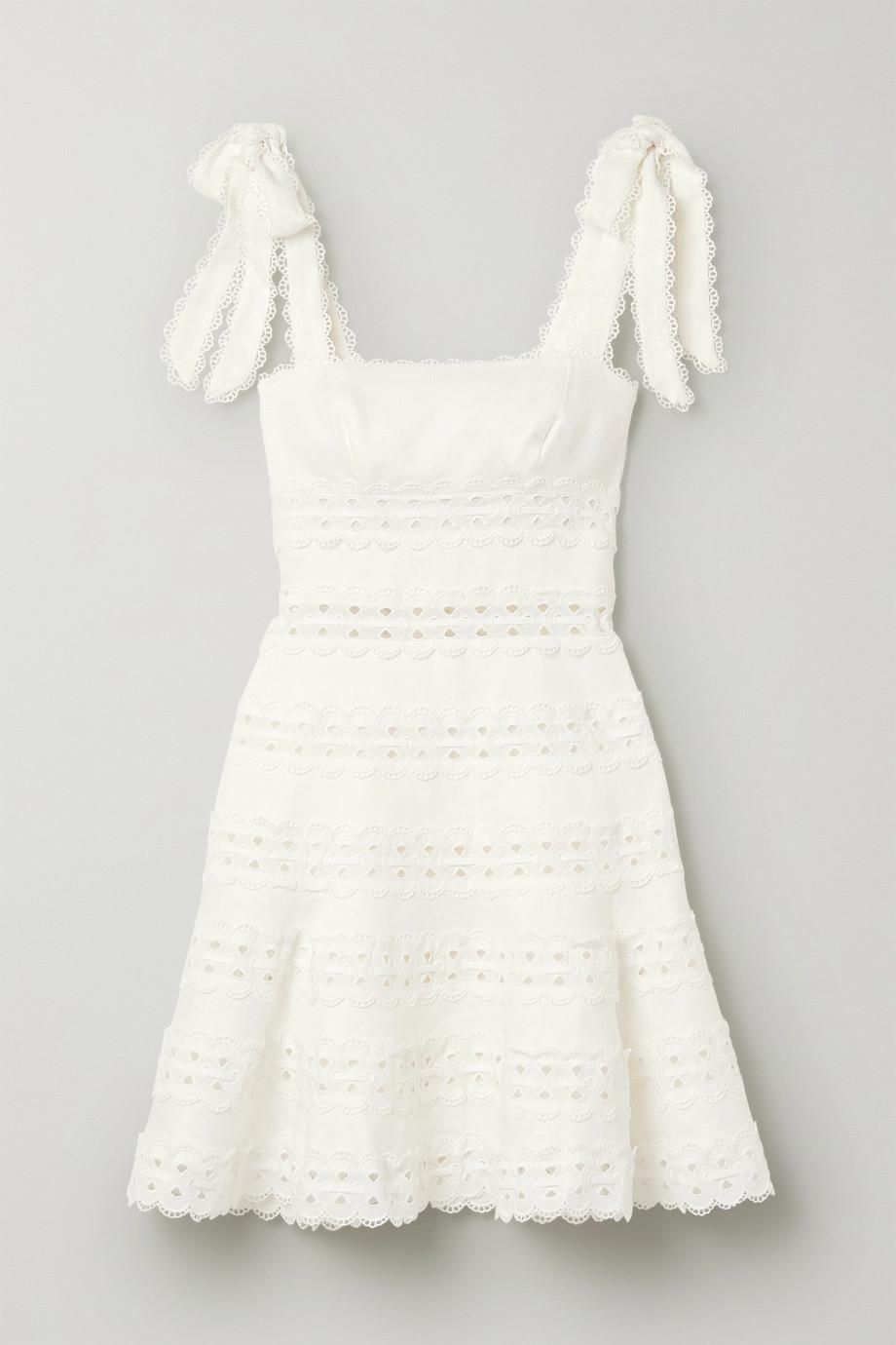 Zimmermann | Kirra tie-detailed broderie anglaise linen mini dress | NET-A-PORTER.COM