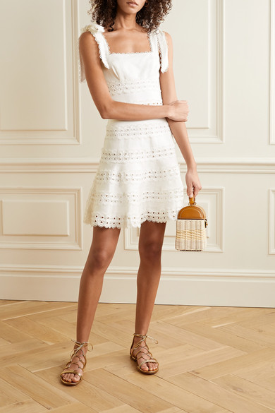 Kirra Tie Detailed Broderie Anglaise Linen Mini Dress by Zimmermann