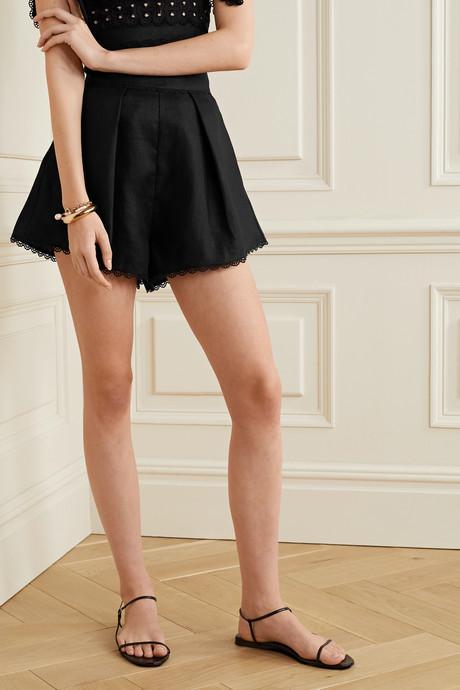 Kirra crochet-trimmed linen shorts