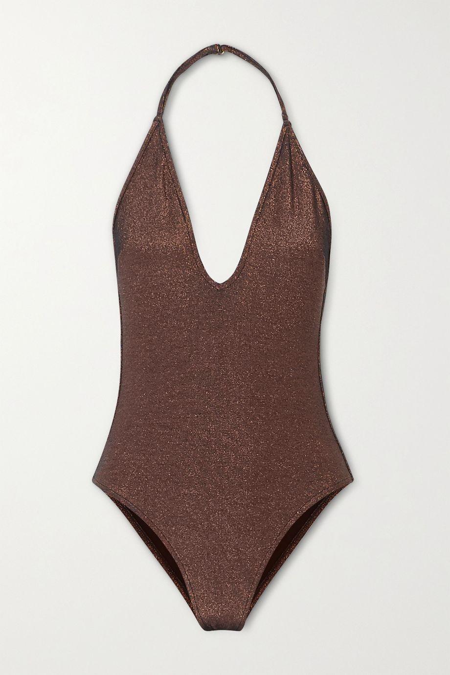 Zimmermann Kirra metallic halterneck swimsuit