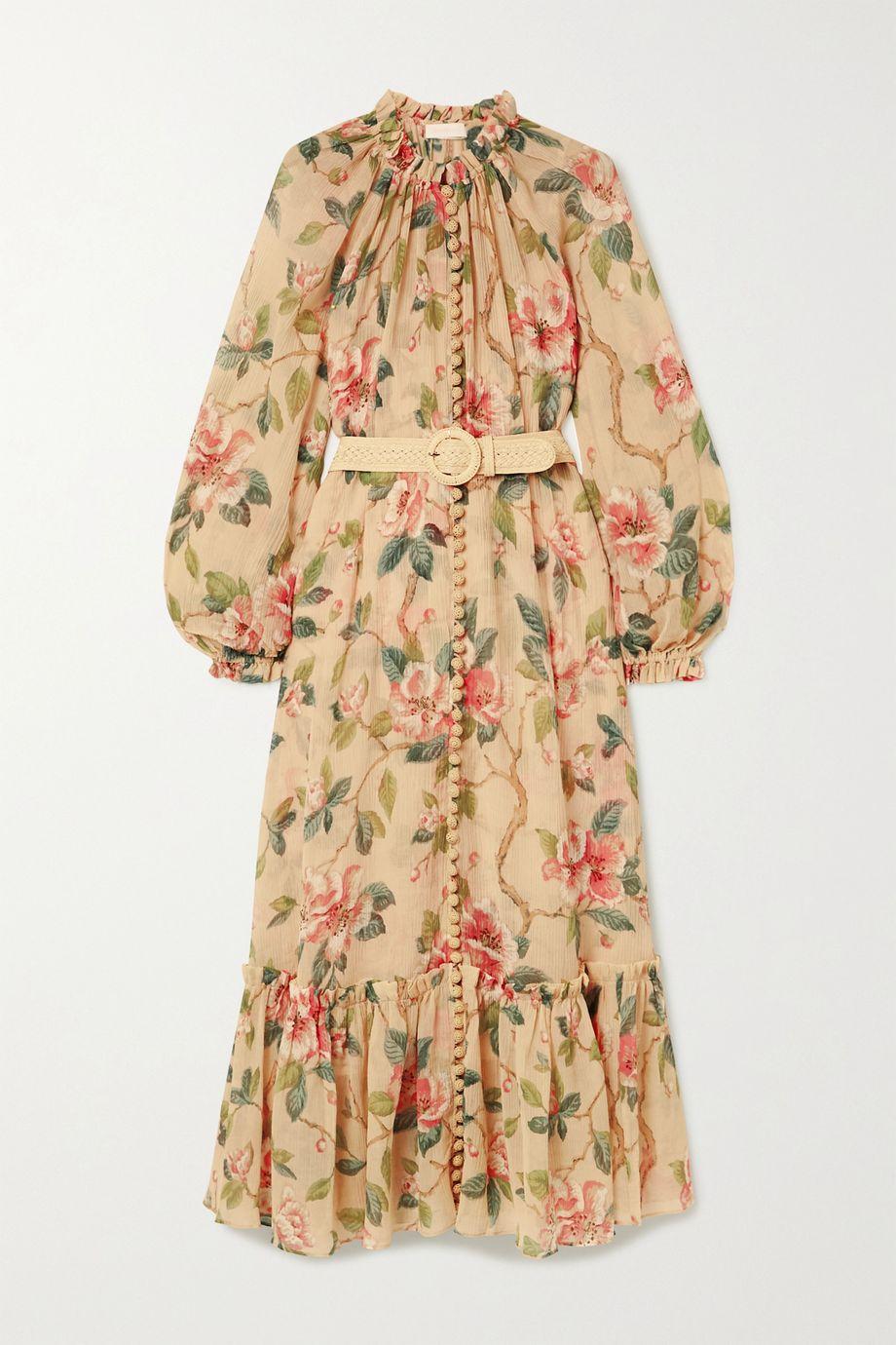Zimmermann Robe longue en crépon de coton et soie mélangés à ceinture Kirra