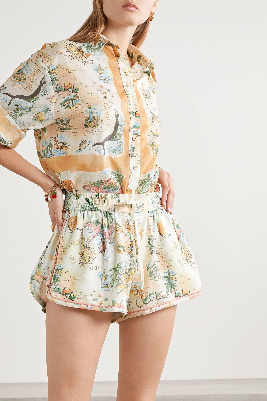 Zimmermann Kirra Shorts aus einer bedruckten Leinen-Baumwollmischung