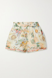 Kirra printed linen and cotton-blend shorts