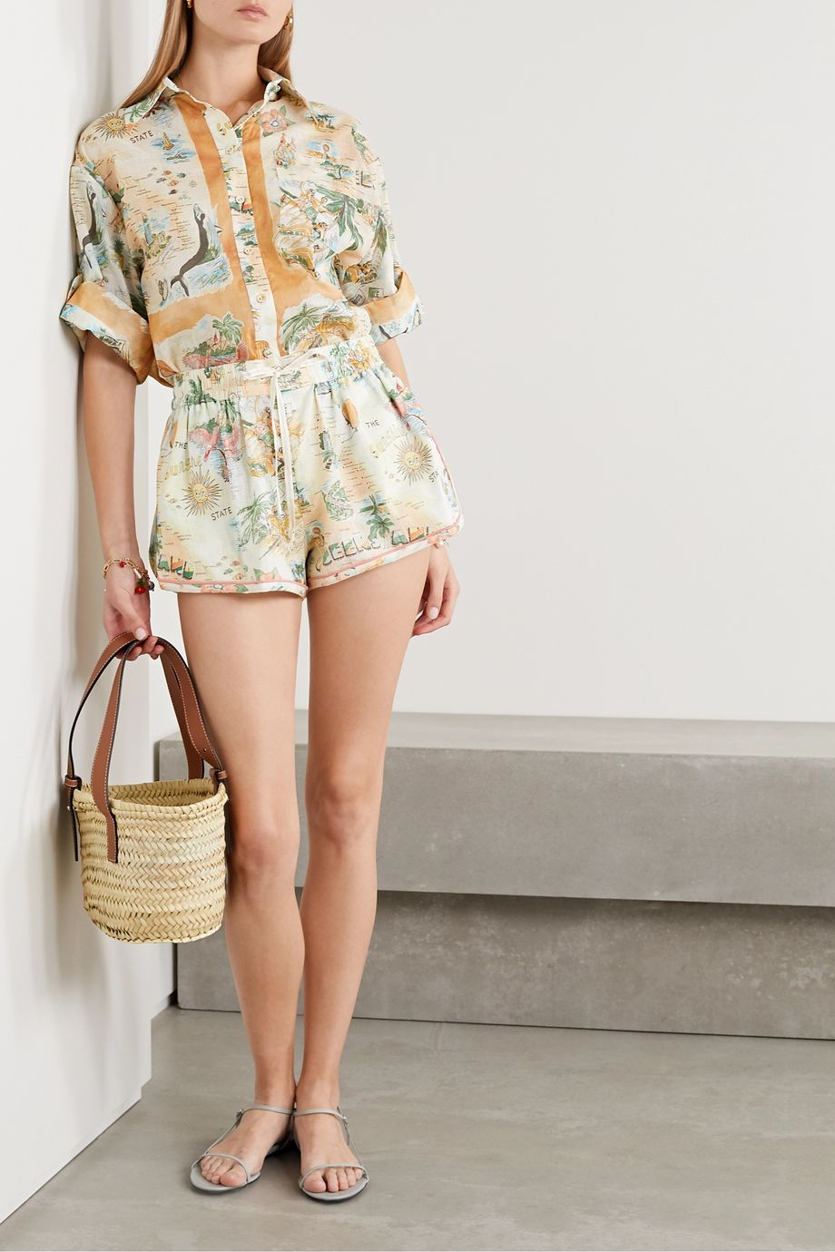 Zimmermann Kirra printed linen and cotton-blend shorts
