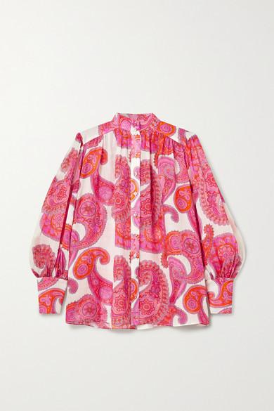 Zimmermann Peggy Bishop-sleeve Paisley-print Ramie Blouse In Magenta