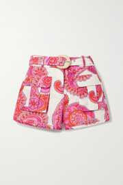 Peggy paisley-print linen and cotton-blend shorts